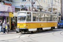 Tram au centre de Sofia, Bulgarie Images stock
