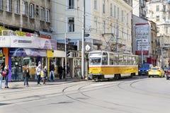 Tram au centre de Sofia, Bulgarie Image stock