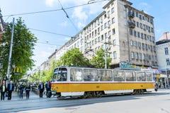 Tram au centre de Sofia, Bulgarie Image libre de droits