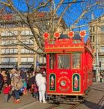 Tram auf Bellevue-Quadrat Stockfotos