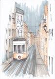 Tram auf einer schmalen Straße vektor abbildung