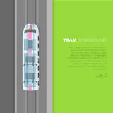 Tram Background Conceptual Flat Vector Web Banner. Tram background conceptual web banner. Modern tramway on rails from top view flat vector illustration. City Stock Image
