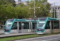 Tram in Barcelona. Modern tram on Barcelona, Spain Royalty Free Stock Images