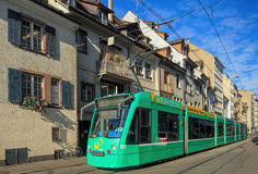 Tram on Basel old town street Royalty Free Stock Image