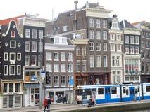Tram blu a Amsterdam 0906 Fotografia Stock