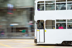 Tram with Blurred Motion Royalty Free Stock Photo