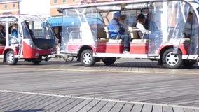 Atlantic City Tram. A tram on the boardwalk in Atlantic City, New Jersey stock video