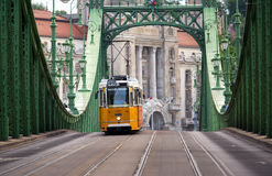 Tram on bridge in Budapest Royalty Free Stock Image