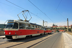 Tram on the bridge. Prague, Czech Republic. Royalty Free Stock Photography