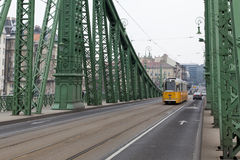 Tram  on bridge szabadsag Royalty Free Stock Images