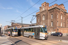 Tram in Brussels, Belgium Royalty Free Stock Images