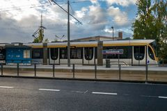 Tram in Brussels, station Roodebeek. Brussels, Belgium - October 1, 2018 : A tram in Brussels, on the new line number 8, at the terminus, station Roodebeek royalty free stock photos