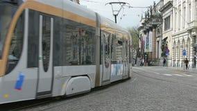 A tram in Brussels stock video