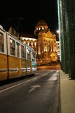 Tram in Budapest. Old style tram in Budapest, night view Royalty Free Stock Photography