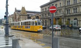 Tram Budapest. Yellow street tram in Budapest. Hungary Royalty Free Stock Image