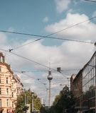 Tram cables and TV tower in Berlin stock images