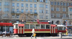 Tram caffe in Prague, Europe Stock Images