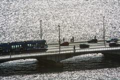 Tram car on bridge Zurich Stock Images