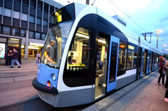 Tram car in evening Stock Photo