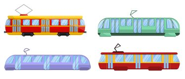 Tram car icons set, cartoon style vector illustration