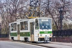 Tram carriage on the town street in the historical city center at traditional trams parade. Moscow, Russia - April 21, 2018: Tram carriage on the town street in Stock Images