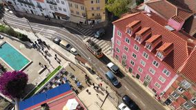 The tram cars in Lisbon from above stock footage