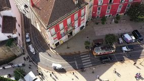 The tram cars in Lisbon from above stock video footage