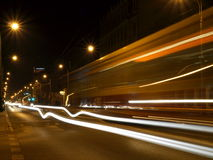 Tram and cars in motion .. Stock Photography