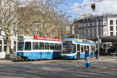 Tram cars Zurich Royalty Free Stock Photography