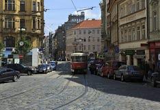 Tram in the center of Prague Stock Image