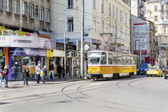 Tram in the center of Sofia,Bulgaria Stock Image