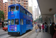 Tram, Central, Hongkong Stock Photo