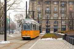 Tram in the central square in Budapest. In March 2018 stock images