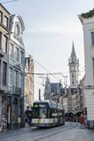 Tram circulating in the medieval city of Ghent, Belgium Stock Photography