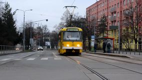 Tram in the city stock footage