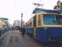 The tram of the city of Alexandria, Egypt stock photography
