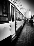 Tram in the city. Artistic look in black and white. Royalty Free Stock Photography