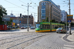 Tram in the city center. Poznan Royalty Free Stock Photo