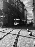 Tram in the city centre in black and white Royalty Free Stock Images