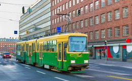 Tram in the city centre of Helsinki Royalty Free Stock Images