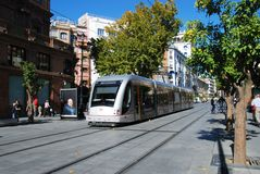 Tram in city centre, Seville, Spain. Stock Photos