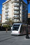 Tram in city centre, Seville, Spain. Royalty Free Stock Image