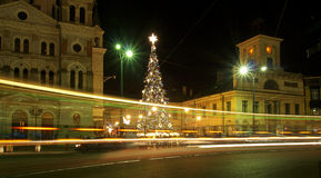 Tram and city Christmas tree. Royalty Free Stock Photo