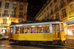 Tram in the city of Lisbon. Old traditional tram in the city of Lisbon at night, Portugal Stock Image