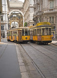 Tram in the city of Milan, Italy Stock Image