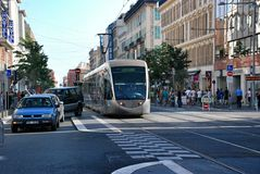 Tram in city of Nice Stock Images