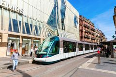 Tram in the city of Strasbourg, France. Strasbourg, France - September 09, 2018: tram in the city of Strasbourg with unidentified people. Strasbourg is the royalty free stock photo