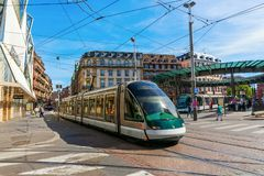 Tram in the city of Strasbourg, France. Strasbourg, France - September 09, 2018: tram in the city of Strasbourg with unidentified people. Strasbourg is the stock images