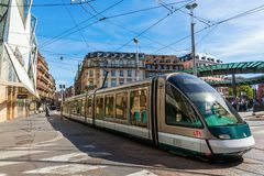 Tram in the city of Strasbourg, France. Strasbourg, France - September 09, 2018: tram in the city of Strasbourg with unidentified people. Strasbourg is the royalty free stock image