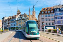Tram in the city of Strasbourg, France. Strasbourg, France - September 09, 2018: tram in the city of Strasbourg with unidentified people. Strasbourg is the stock photo